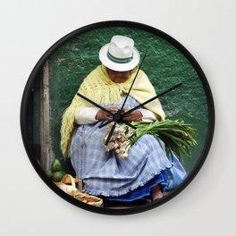 Vegetable and Fruit vendor, Cuenca, Ecuador Wall Clock