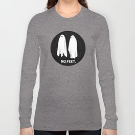 No Feet Ghosts Black and White Graphic Long Sleeve T-shirt
