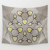 techno Wall Tapestries featuring Abstract Techno Fried Eggs by cinema4design