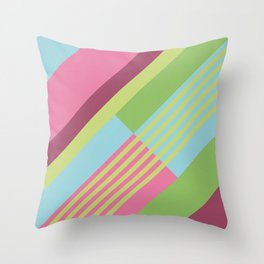 Colorful Sunny Stripes Throw Pillow