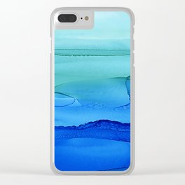 Alcohol Ink Seascape Clear iPhone Case