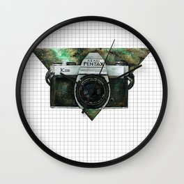 Pentax K1000 (Green Nebula) Wall Clock