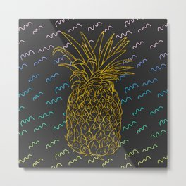 Golden Pineapple Metal Print