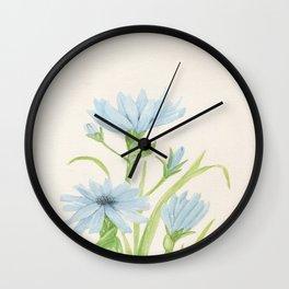 Watercolor Garden Flower Blue Cornflower Wildflower Wall Clock