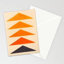 Vintage Scandinavian Orange Geometric Triangle Pattern Stationery Cards