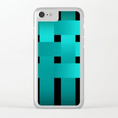 Abstraction .Weave turquoise satin ribbons . Patchwork . Clear iPhone Case