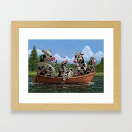 Cartoon Cow Family on Boating Holiday Framed Art Print