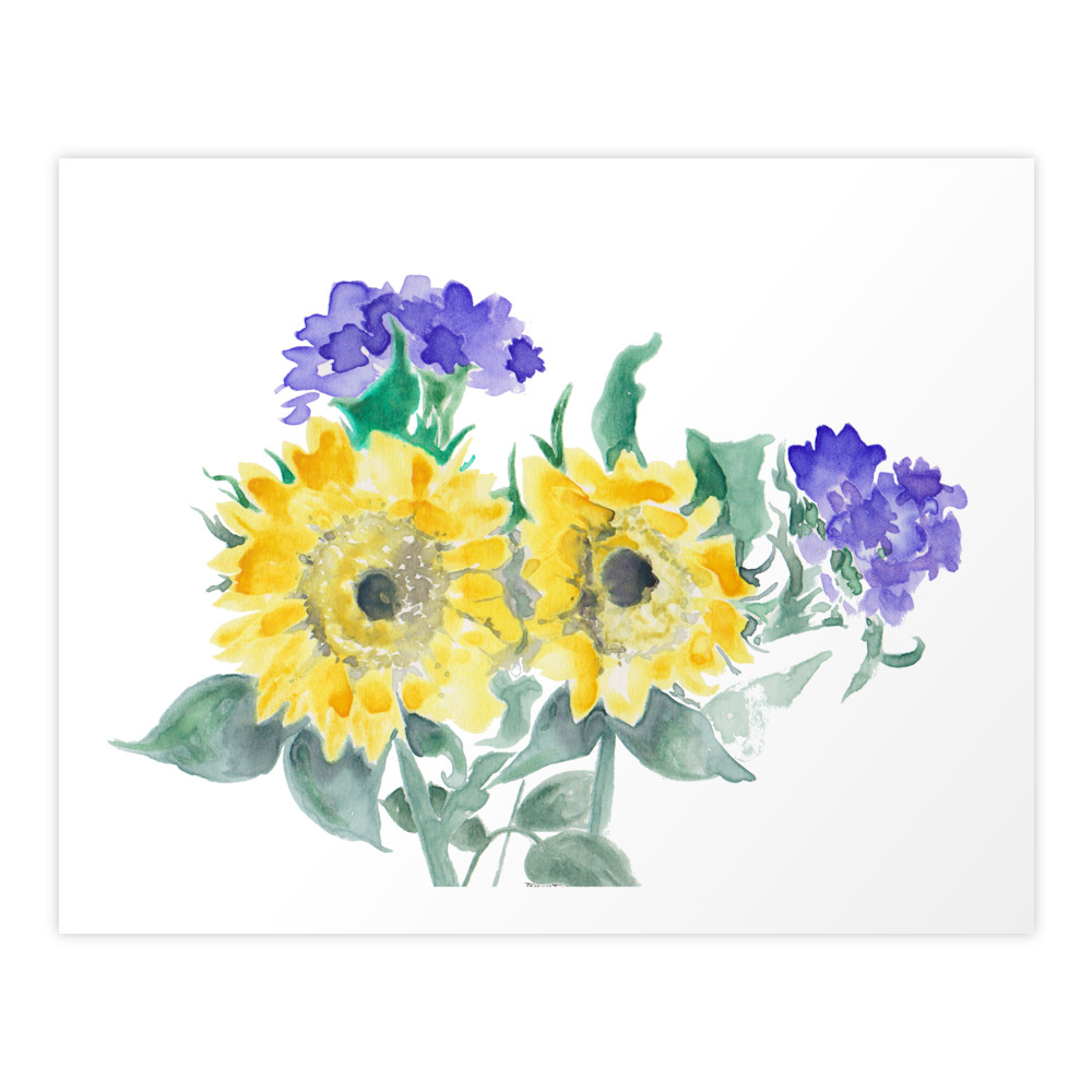 Sunflower Art Print by jennytdesigns