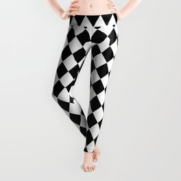 Black and White Modern Diamond Pattern Leggings