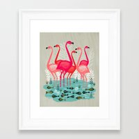 yetiland Framed Art Prints featuring Flamingos by Andrea Lauren  by Andrea Lauren Design