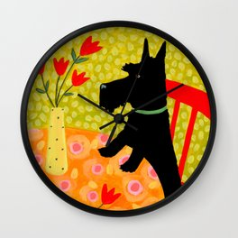 Scottie Dog and Tulips Wall Clock