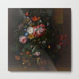 Rachel Ruysch - Roses, Convolvulus, Poppies and other flowers in an Urn on a Stone Ledge (1680) Metal Print