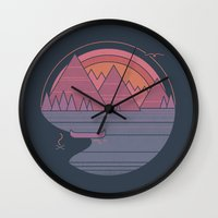 the mountains are calling Wall Clocks featuring The Mountains are Calling by Rick Crane
