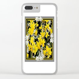 Black-Grey Art Design Yellow-White Daffodils Clear iPhone Case