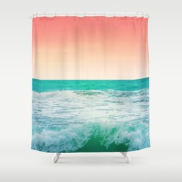 Aqua and Coral, 3 Shower Curtain