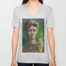 great female scientist testing radiation Unisex V-Neck