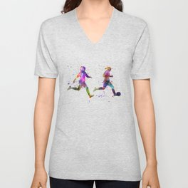 Girls playing soccer football player silhouette Unisex V-Neck
