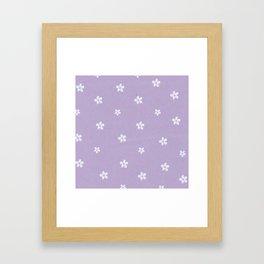 Modern lavender teal pink hand painted floral Framed Art Print