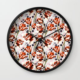 Tulips over pattern moroccan Wall Clock