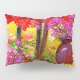 TROPICAL PINK ORCHIDS RED AMARYLLIS STILL LIFE PAINTING Pillow Sham