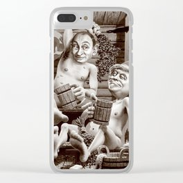 Putin and Trump in the Russian bath Clear iPhone Case