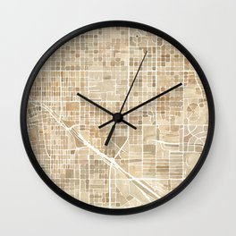 Tucson Arizona watercolor city map Wall Clock