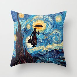 mary poppins Starry Night oil painting iPhone 4 4s 5 5c 6, pillow case, mugs and tshirt Throw Pillow