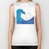 hokusai Biker Tanks featuring Hokusai Rainbow & rotating dolphins_D by FACTORIE