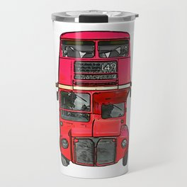 The big red bus. (Painting) Travel Mug