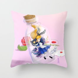 Alice in a bottle (drink me) Throw Pillow