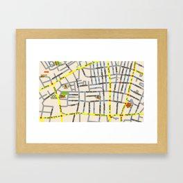 Tel Aviv map design - Florentin area - written in Hebrew Framed Art Print