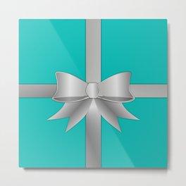 Blue Gift Box Metal Print