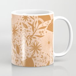 Wildflowers Repeat Pattern Ocher Blush Pink Cottagecore Simple Life Coffee Mug