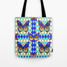 ARGYLE ABSTRACTED  BROWN SPICE  MONARCHS BUTTERFLY & BLUE-WHITE Tote Bag