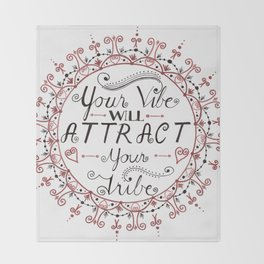 'Your Vibe Will Attract Your Tribe' Quote Mandala Red Throw Blanket