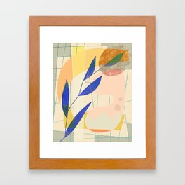 Shapes and Layers no.9 - Leaves and Grid Framed Art Print