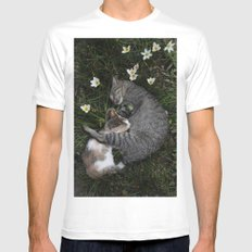 Sleep [A CAT AND A KITTEN] MEDIUM White Mens Fitted Tee