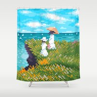 monet Shower Curtains featuring Modern Monet No.1 by Graphics by Hand