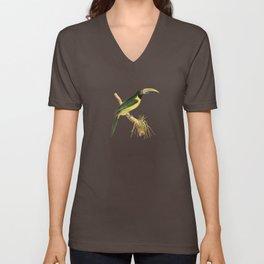 Green Aracari Bird Illustration by William Swainson Unisex V-Neck