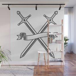 Medieval swords knight crusader with ribbon Wall Mural