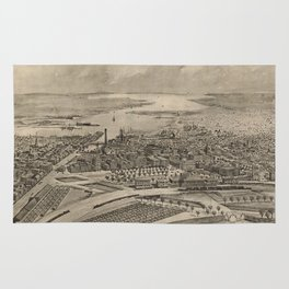 Vintage Pictorial Map of Providence RI (1896) Rug