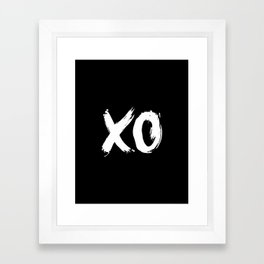 XO Hugs and Kisses white and black gift for her girlfriend xoxo bedroom art and home room wall decor Framed Art Print