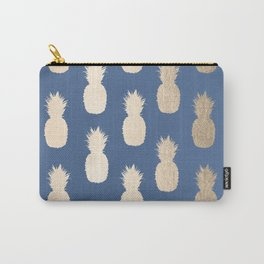 Gold Pineapples on Aegean Blue Carry-All Pouch