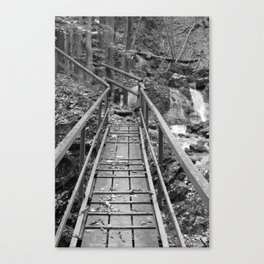 wooden bridge Fischbach, black and white photography Canvas Print