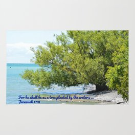 Tree By The Water With Scripture Quote Rug