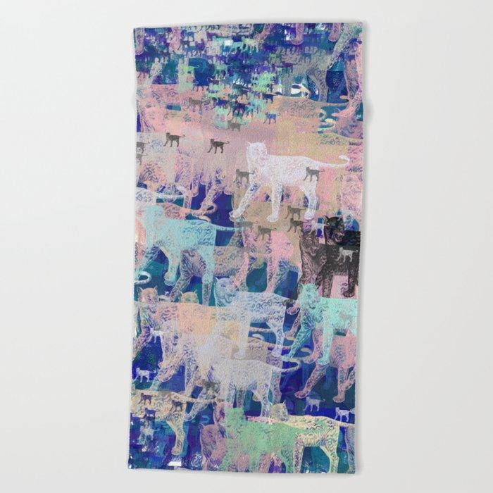 Instinctive Kittens Abstract Beach Towel
