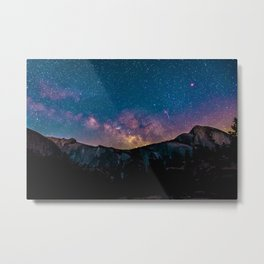 Milky Way Mountains Deep Pastel Metal Print