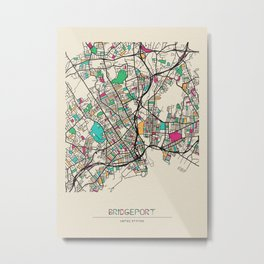 Colorful City Maps: Bridgeport, Connecticut Metal Print