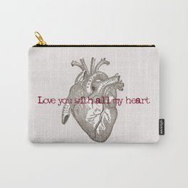 Love you with all my heart vintage illustration Carry-All Pouch