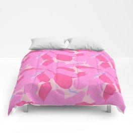 Tropicana Banana Leaves in Preppy Pink + Purple Comforters
